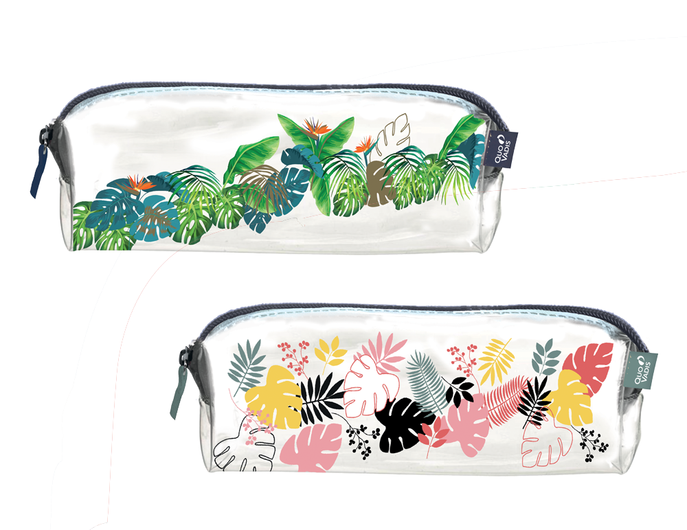 Trousse mini transparente Quo Vadis motif jungle