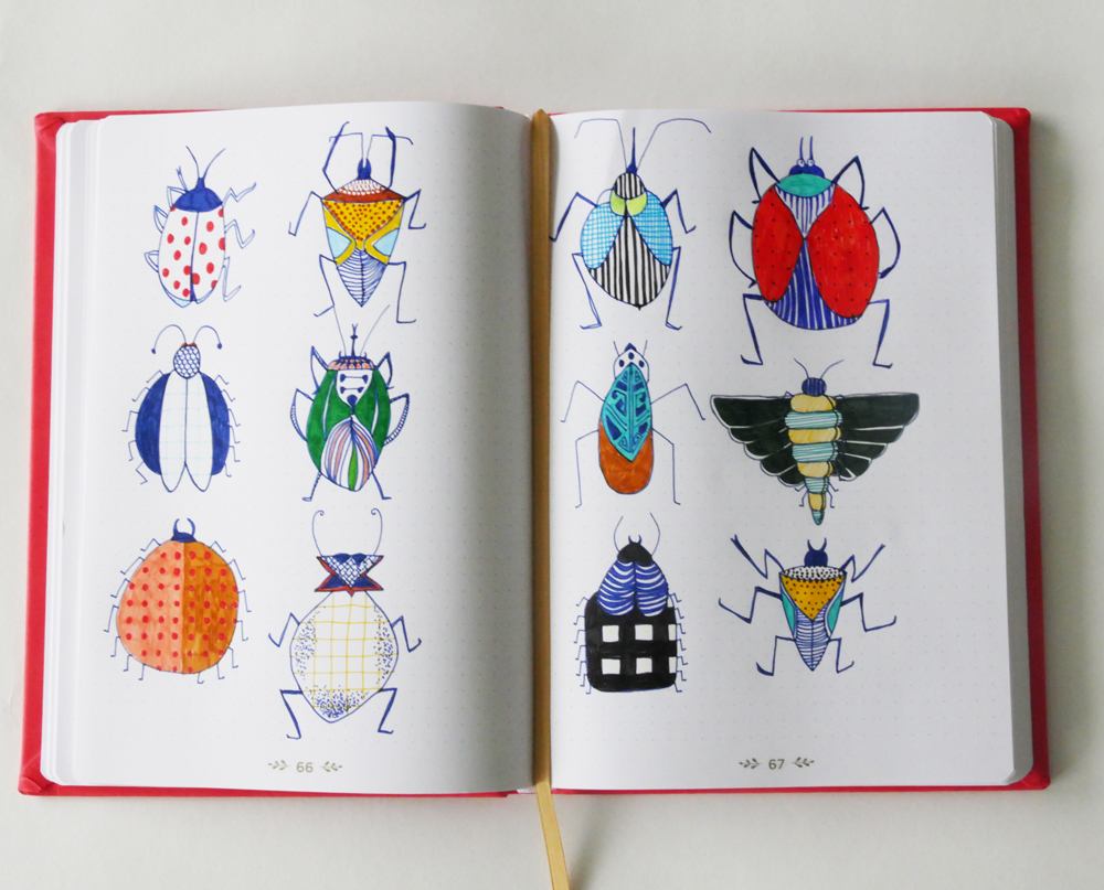 Dessin d'insectes dans carnet Life Journal