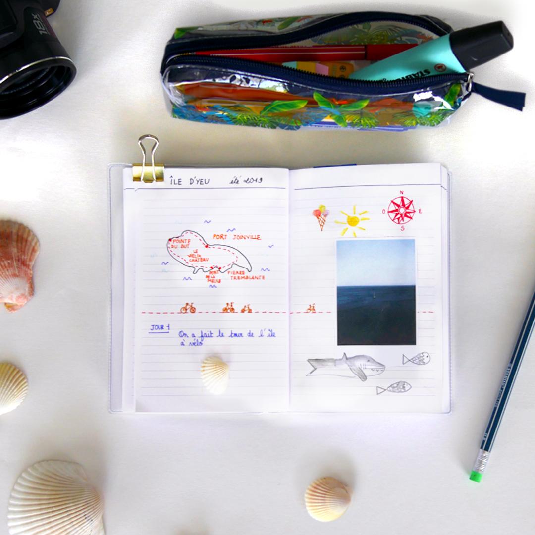 Page d'un carnet de voyage enfant à l'île d'yeu