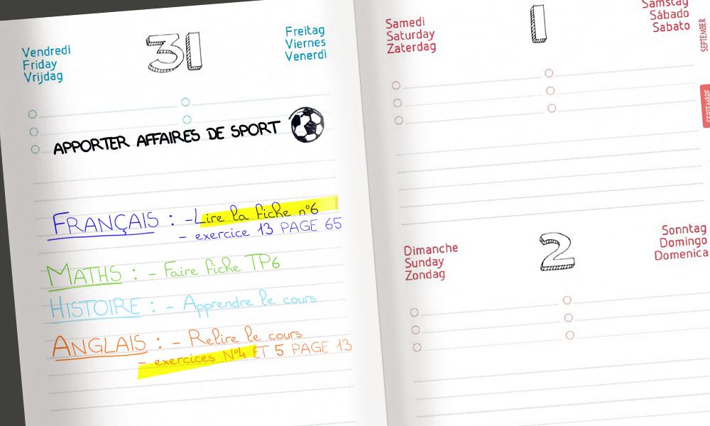 Remplir son agenda scolaire