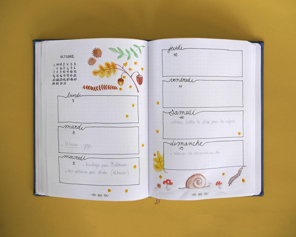 Bullet journal illustré - page hebdomadaire octobre