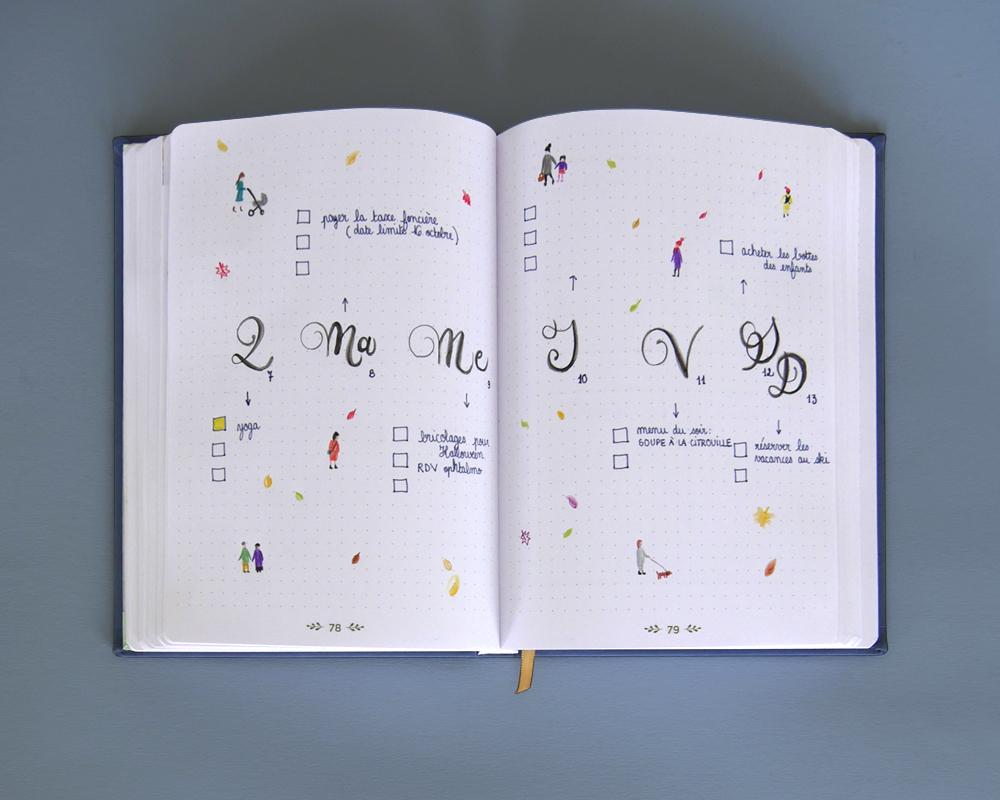 Bullet journal - page hebdomadaire - dessins et calligraphie