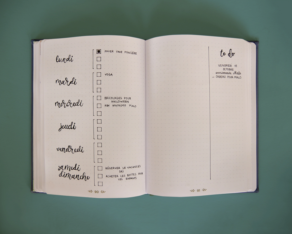 Bullet journal - page hebdomadaire - simple