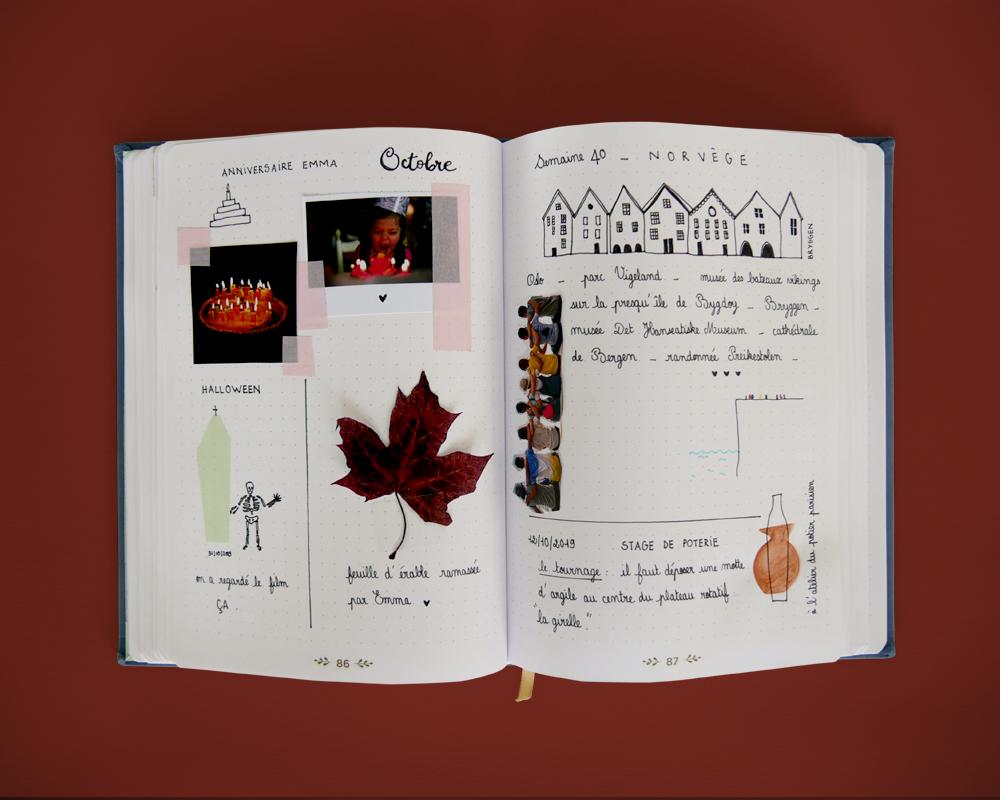Idée page hebdomadaire bullet journal (collages) mois d'Octobre