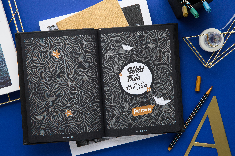 Quo Vadis : création dans un carnet aux pages noires
