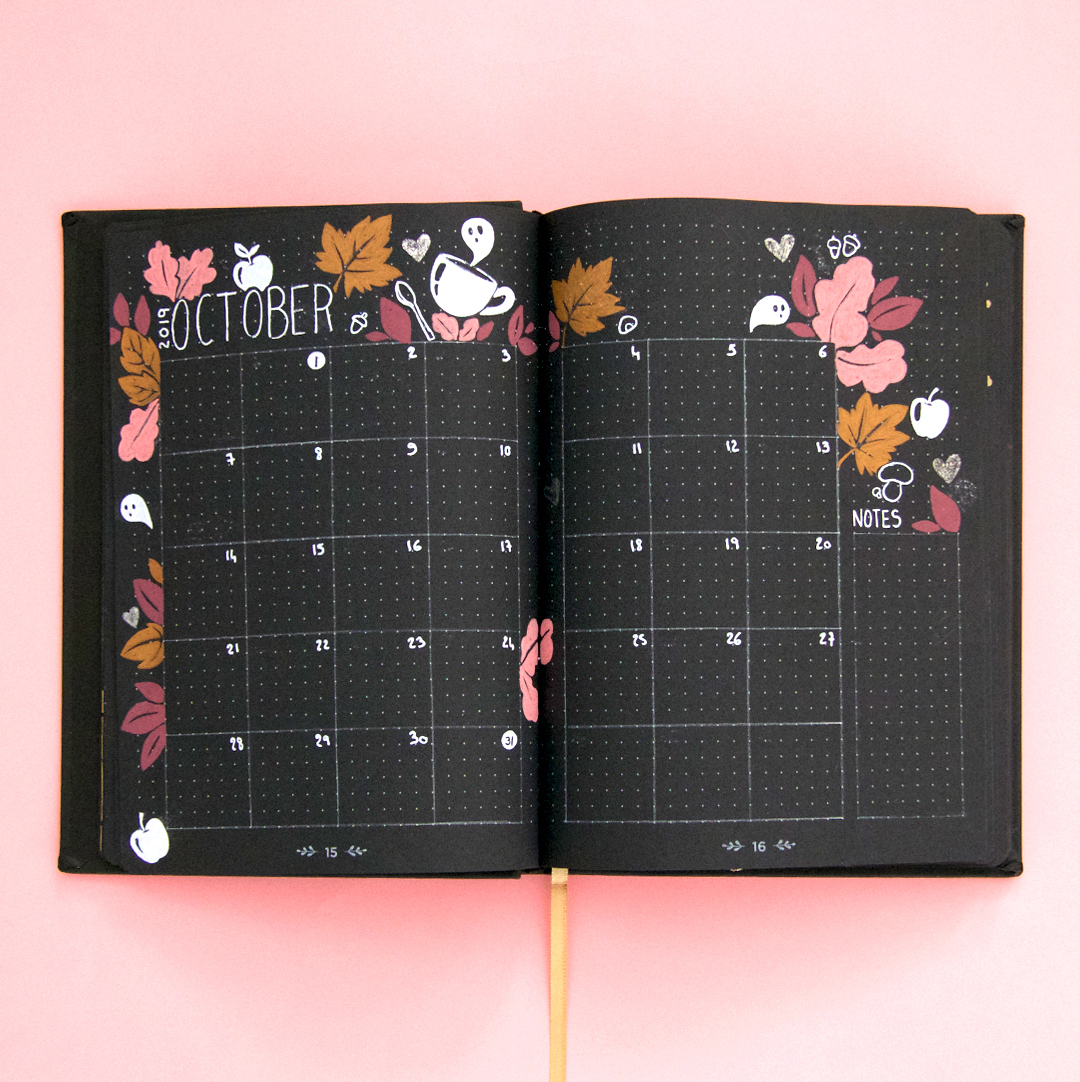 Page mensuelle Life Journal Black