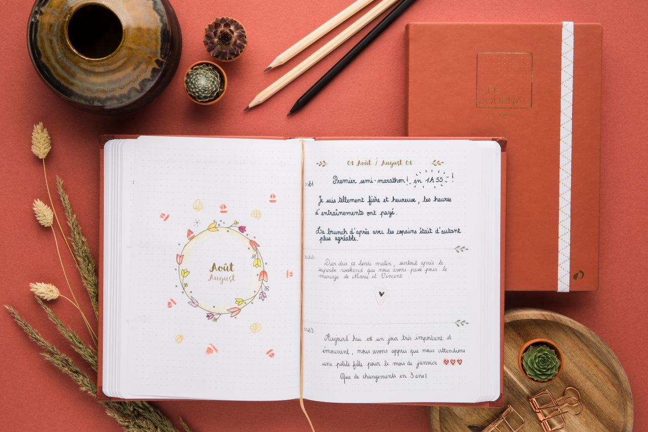 Quo Vadis - Life Journal 3 YEARS Terracotta agenda perpétuel sur 3 ans, carnet, journal intime, carnet de gratitudes