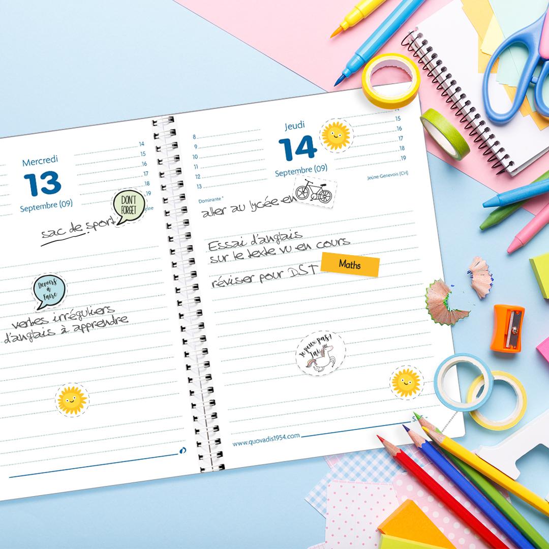Template stickers enfant-ado agenda ou Cahier de texte Quo Vadis