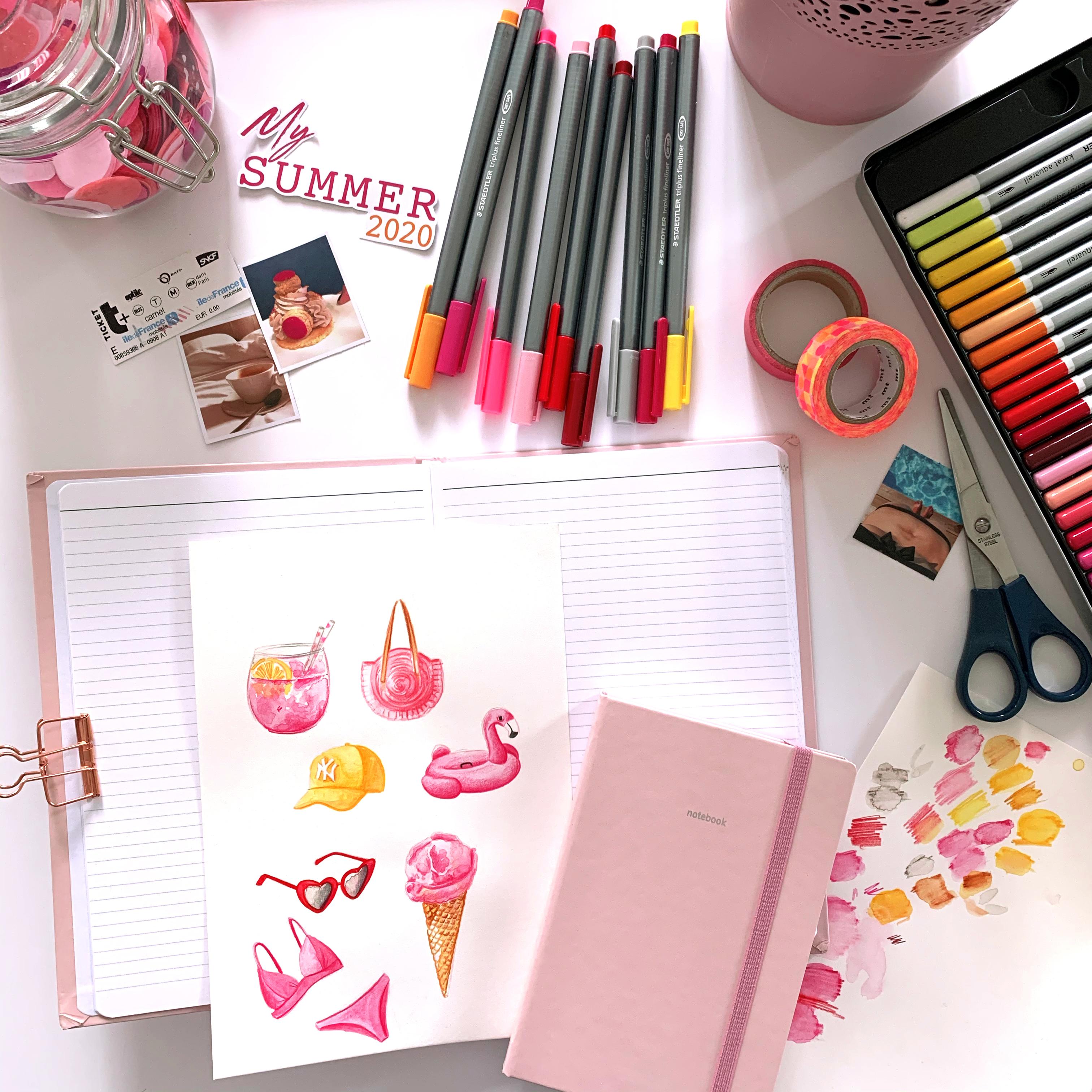 Article C Comme Line - Blog Quo Vadis - carnet Pastel rose 2
