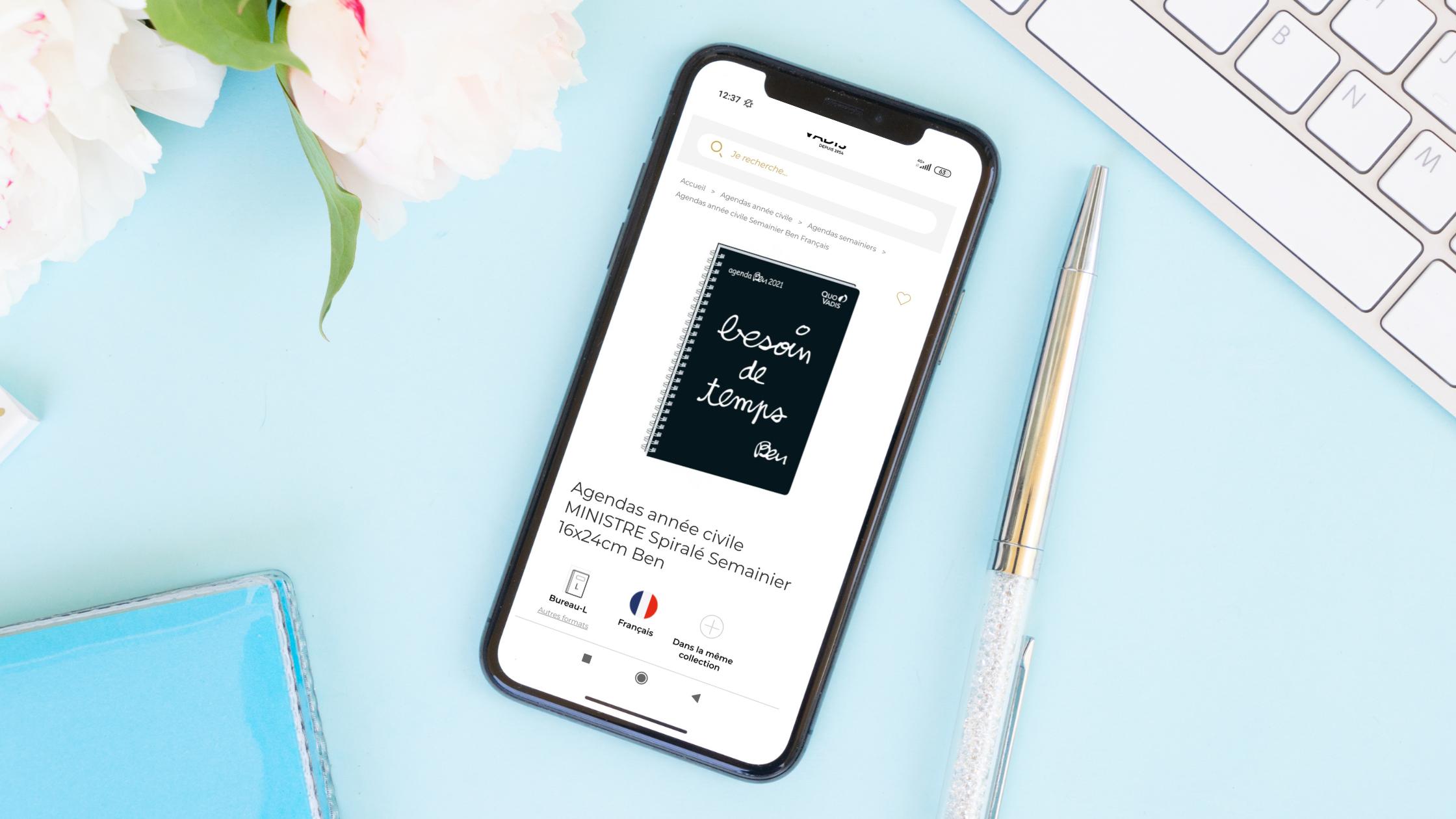 Nouvelle boutique en ligne Quo Vadis sur mobile