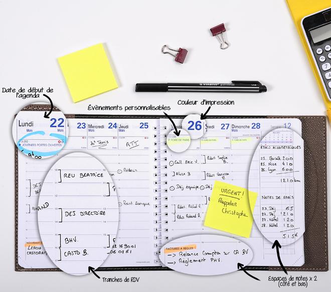 options de personnalisation de l'agenda Quo Vadis Factory